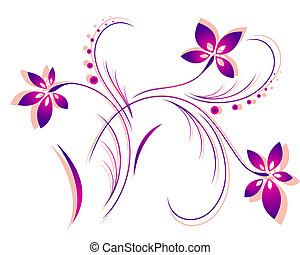 Decorative, bright pattern with the image of flowers, leaves and curls