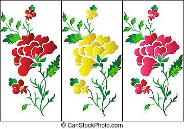 Flower pattern vertical, rose, tatt - Decorative colour...