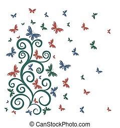 Flower pattern with butterflies.