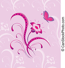 Flower pattern with the butterfly a