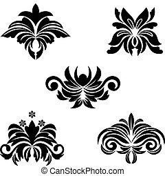 Black flower patterns for design and ornate