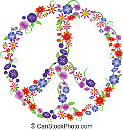 Flower peace sign - Colorful peace sign made from spring...