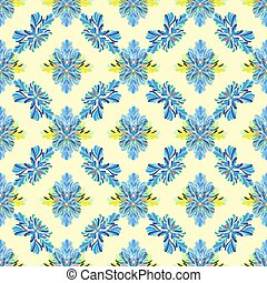 flower petals abstract vector seamless pattern on a yellow background