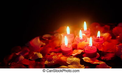 Flower petals footage for Valentine day with candle burning