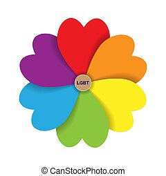 Flower petals in the form of a heart in the colors of LGBT. In the heart of the flower is the abbreviation LGBT.
