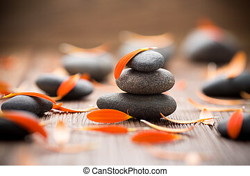 Flower petals. - Gerbera flower petals and spa stones,...