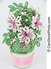 flower pink beadwork - pink flower with green leaves in the ...
