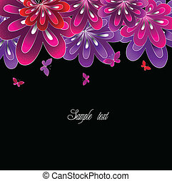 Flower pink on black background. Vector