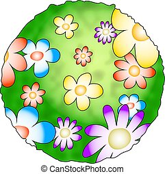 Flower Planet - the earth with flowers growing