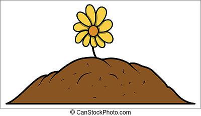 Flower Plant Grown in Soil - Drawing Art of Flower Plant...