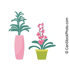 Flower Plant in Vase Potted Flourishing Vector