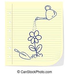 Flower Planting Doodle Illustration