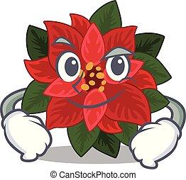 Flower poinsettia mascot cartoon style with Smirking face