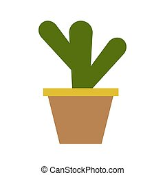 Flower pot icon with a plant. Vector illustration.