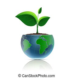 Flower pot in the form of the planet earth.