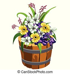 Flower pot in the shape of a old wooden bucket with colorful flowers isolated on white background. Vector cartoon close-up illustration.