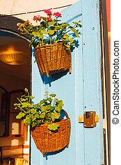 Flower pot on a blue wooden wall