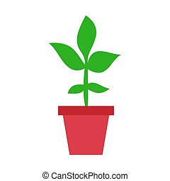 Flower pot vector icon in flat style. Seedling flower illustration on white isolated background. Floral leaf business concept.