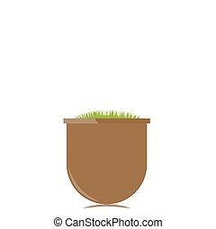 Flower pot with grass