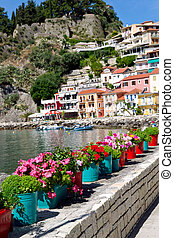 Flower pot with sea in background