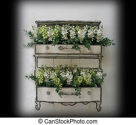 Flower pot with white wall