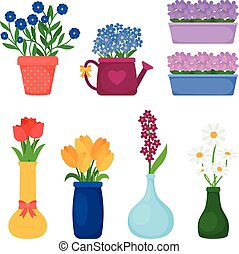 Spring flowers in pots - Flower pots icons. Spring flowers...