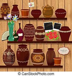 Flower pots on wooden shelves