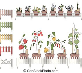 Flower pots with cultivated flowers. Decorative fence. ...