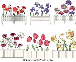 Flower pots with cultivated flowers. Decorative fence.