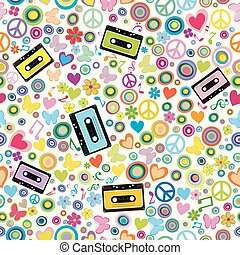 Flower power background with audio tape cassettes