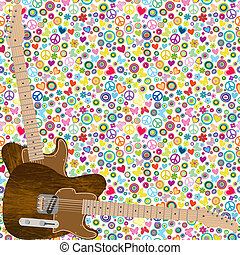 Flower power background with quitars