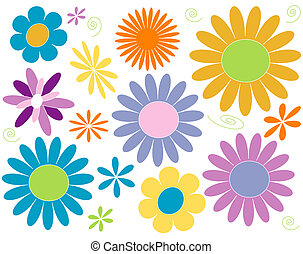Daisy design elements in pastel brights.