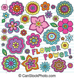 Flower Power Flowers Groovy Psychedelic Hand Drawn Notebook Doodle Design Elements Set on Lined Sketchbook Paper Background- Vector Illustration