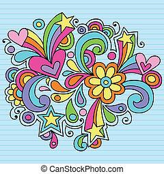 Groovy Psychedelic Doodles Hand Drawn Notebook Doodle Design Element on Lined Sketchbook Paper Background