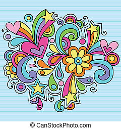 Flower Power Groovy Doodles Vector