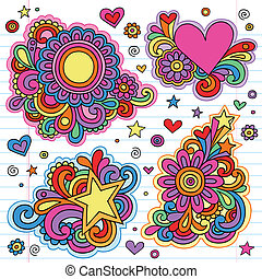 Groovy Psychedelic Doodles Hand Drawn Notebook Doodle Design Elements on Lined Sketchbook Paper Background