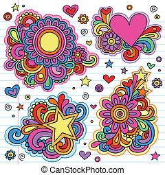 Groovy Psychedelic Doodles Hand Drawn Notebook Doodle Design Elements on Lined Sketchbook Paper Background