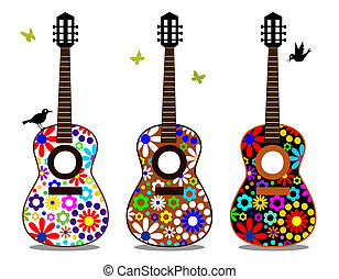 Three guitars with flowers on the white, colored music instruments, full scalable vector graphic included Eps v8 and 300 dpi JPG, change the colors as you like.
