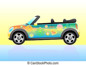 Flower power - Hippie colorful car open top.