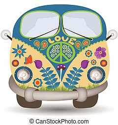 flower power van - illustration of a flower power, hippie...