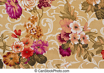 Flower printed on fabric.
