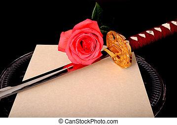 Flower Quill Parchment Sword