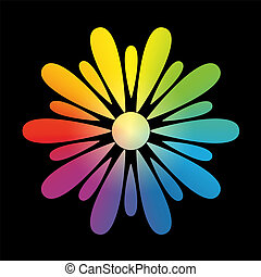 Flower Rainbow Gradient Black