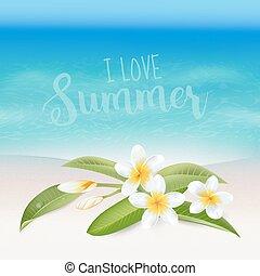 flower., realistisch, text., tropische , hintergrund., vektor, meer, sandstrand, karte