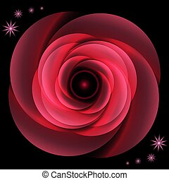 Flower. Red rose. Lights. Bright Effect on a black background. For your design.
