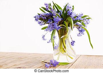 blue snowdrop in vase