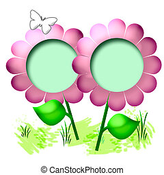 pink 3d flower and green leaves scrapbook page illustration