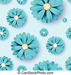 Flower seamless pattern background with realistic blue floral elements.