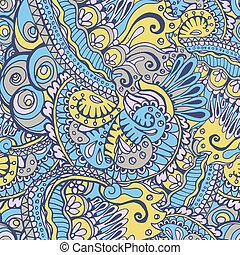 Flower Seamless Pattern or Floral Slavic Ornate, Ethnic Background