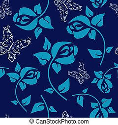 Flower seamless pattern with roses on a blue background